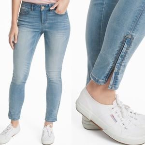 WHBM The Skimmer Embellished Ankle Zipper Jeans